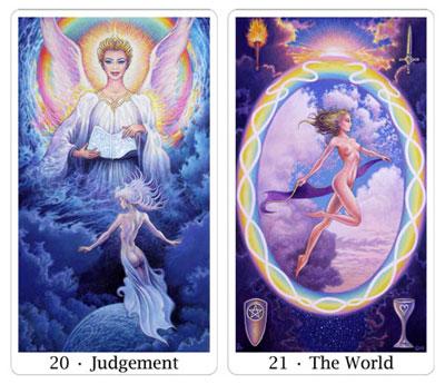 judgement and world from sacred isle tarot