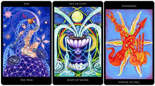 The Star - Ace of Cups -2 of Wands reversed from the Rosetta Tarot