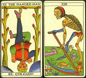 hanged man and death from tarot de marseille