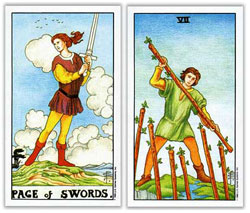 universal rider waite tarot page of swords and seven of wands