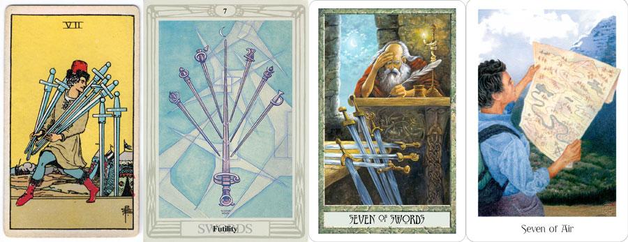 7 of Swords from the Rider 1910 deck, Thoth Tarot, DruidCraft Tarot and the Gaian Tarot.
