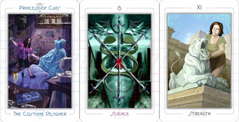 daily tarot reading princess of cups, 6 of swords 7 strength from the urban tarot by robin scott